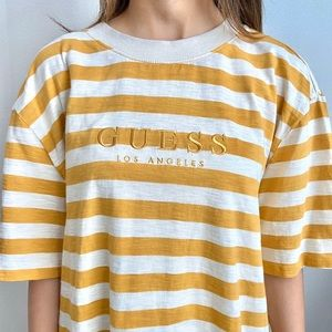 Guess Los Angeles Yellow Striped Tee Shirt
